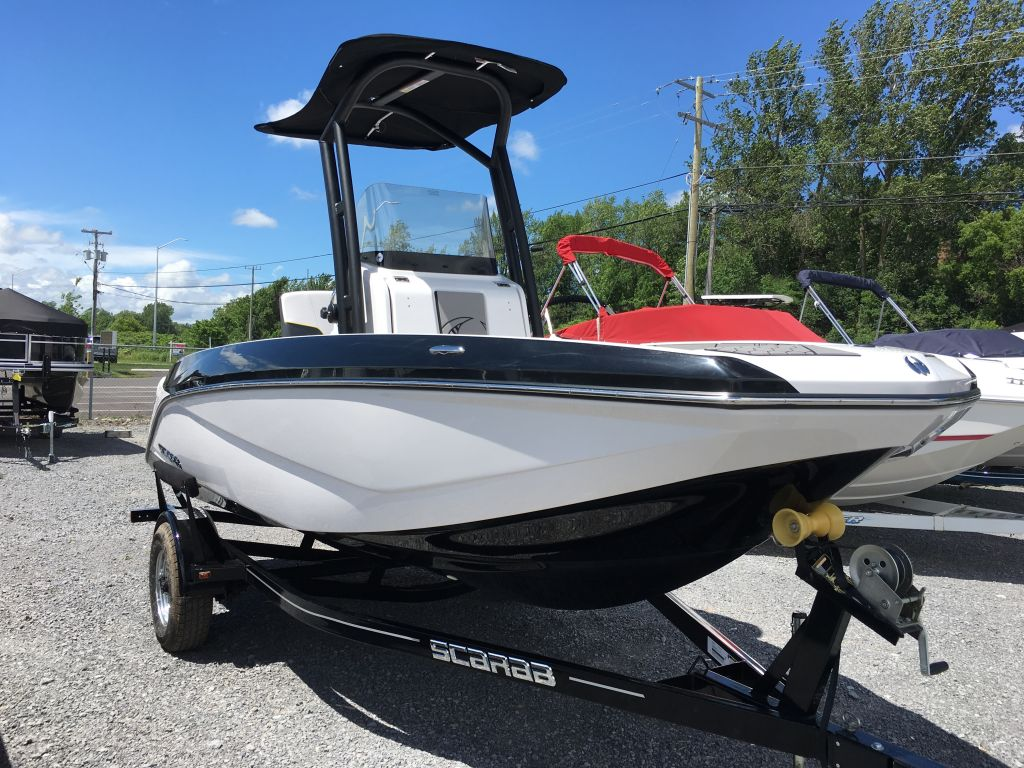 2017 Scarab boat for sale, model of the boat is 195 Open BRP 250HO Rotax T-top w/ bimini and tow pole drop down tailgate pump-out head cooler livewell trailer. & Image # 3 of 23