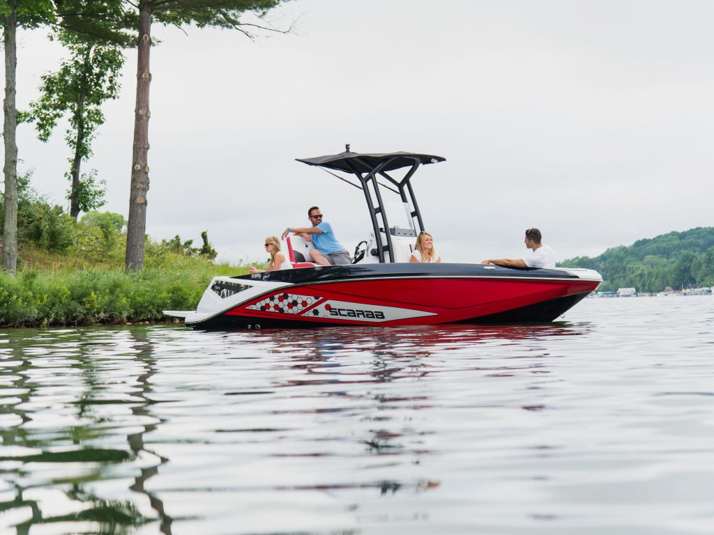 For Sale: 2018 Scarab 195 Open Impulse Brp 250ho Rotax T-top W/ Bimini And Tow Pole Drop Down Tailgate Pump-out Head Cooler Livewell Trailer. 18ft<br/>The Boat Warehouse - Kingston