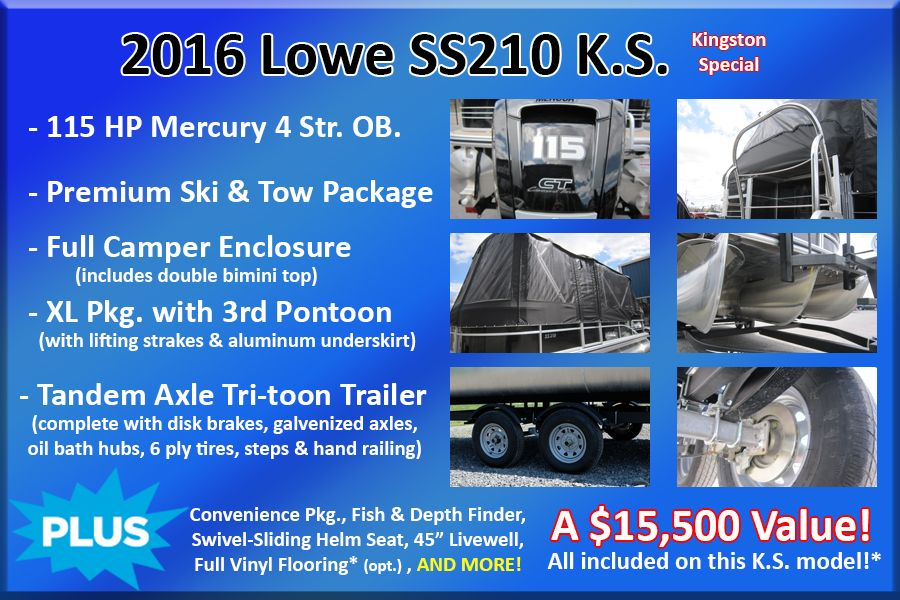 2017 Lowe boat for sale, model of the boat is SS210 Mercury 115HP Trailer Full Enclosure Tri-Toon & Image # 27 of 28