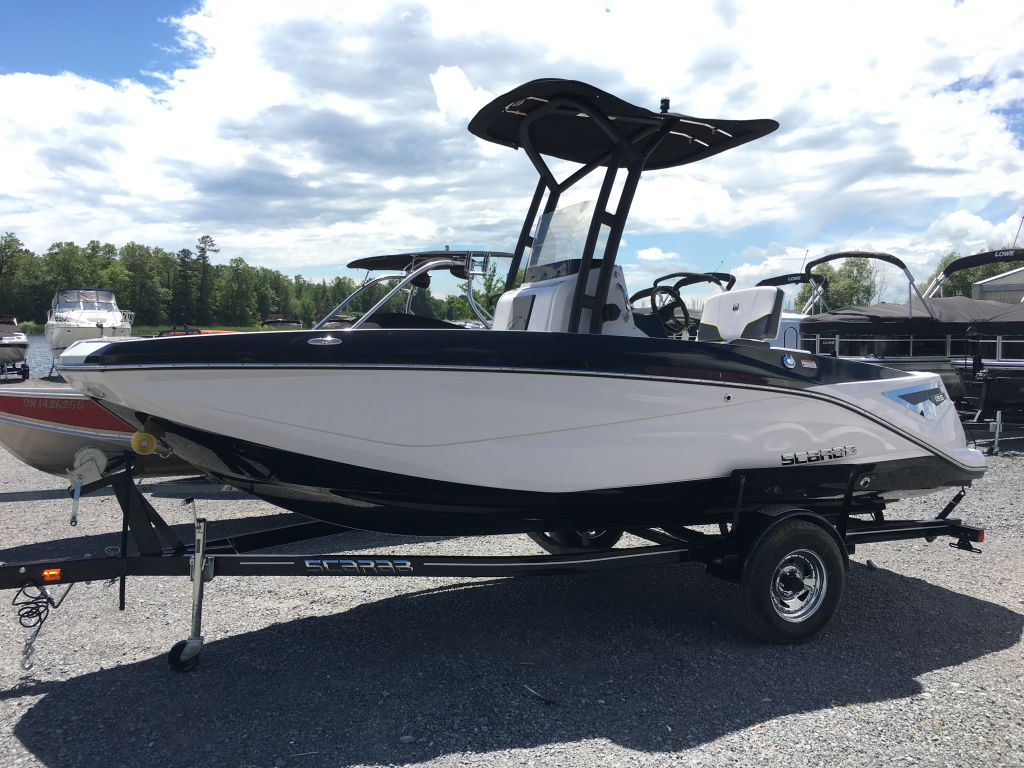 2017 Scarab boat for sale, model of the boat is 195 Open BRP 250HO Rotax T-top w/ bimini and tow pole drop down tailgate pump-out head cooler livewell trailer. & Image # 1 of 23