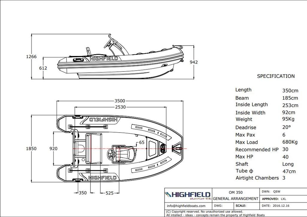 2018 Highfield boat for sale, model of the boat is Ocean Master 350 T PVC & Image # 6 of 6