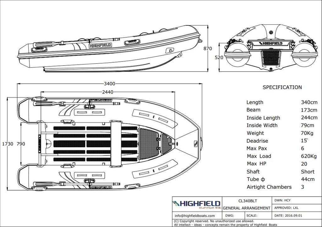 2018 Highfield boat for sale, model of the boat is Classic 340 Bow Locker PVC & Image # 9 of 9